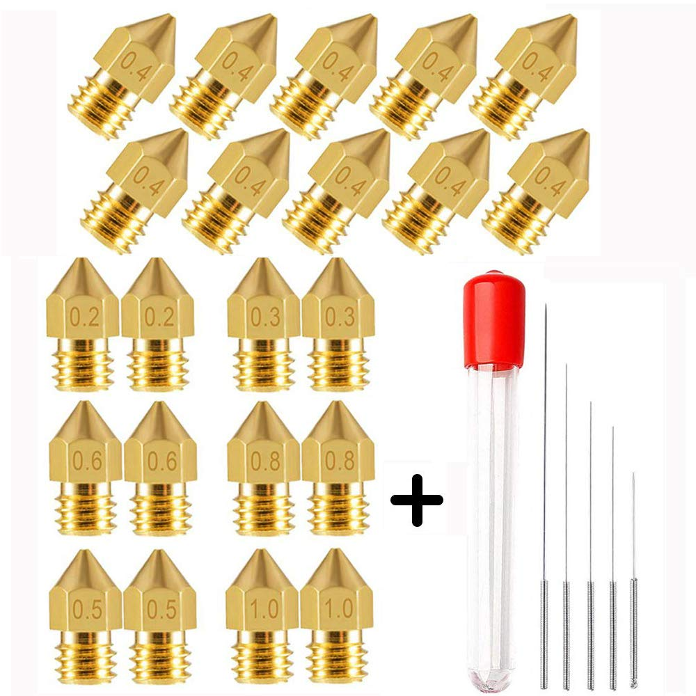 1.0mm and 5 PCS Stainless Steel Cleaning Needles for 3D Printer Makerbot Creality CR-10 0.6mm 0.4mm 0.5mm 3D Printer Nozzles MK8 Brass Extruder Print Head Leaflai 22 PCS 0.2mm 0.3mm 0.8mm
