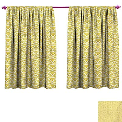 cobeDecor Abstract Blackout Draperies for Bedroom Hand Drawn Vintage Half Circles Sun Themed Bohemian Ornamental Vibrant Pattern Patterned Drape for Glass Door Yellow White