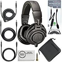 Audio-Technica ATH-M50x Professional Monitor Headphones (Black) + Tekline Active Replacement Cable