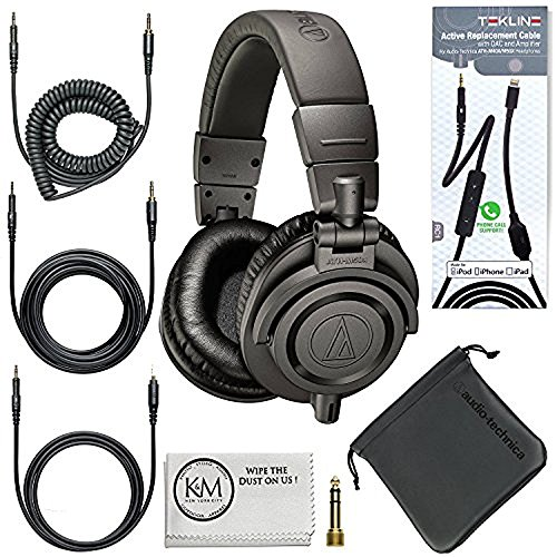 Audio-Technica ATH-M50x Professional Monitor Headphones (Black) + Tekline Active Replacement Cable