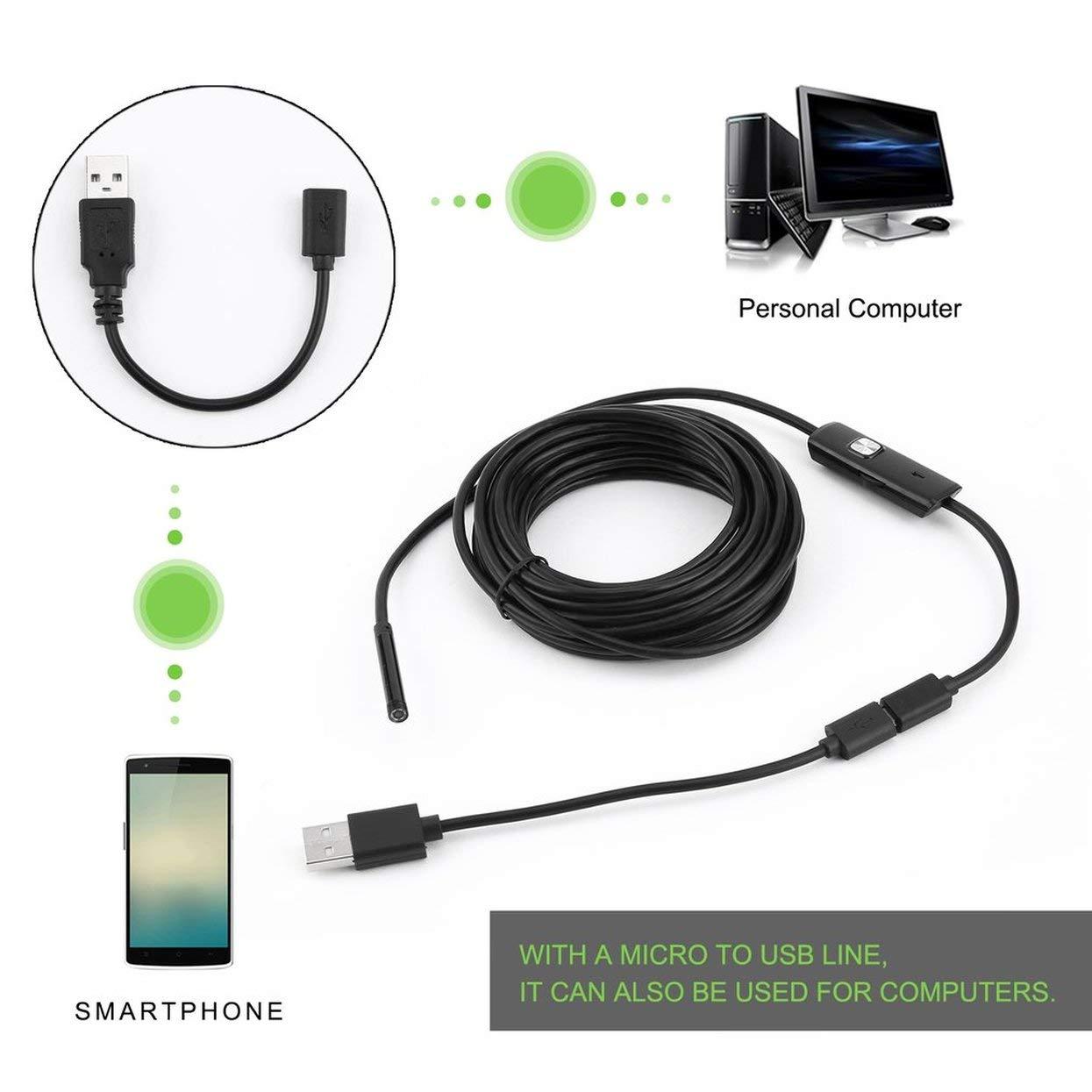Tellaboull 6 LED 5,5 Millimetri Lente endoscopio Impermeabile periscopio di ispezione per Android Focus Obiettivo della Fotocamera Cavo USB Endoscopio Impermeabile