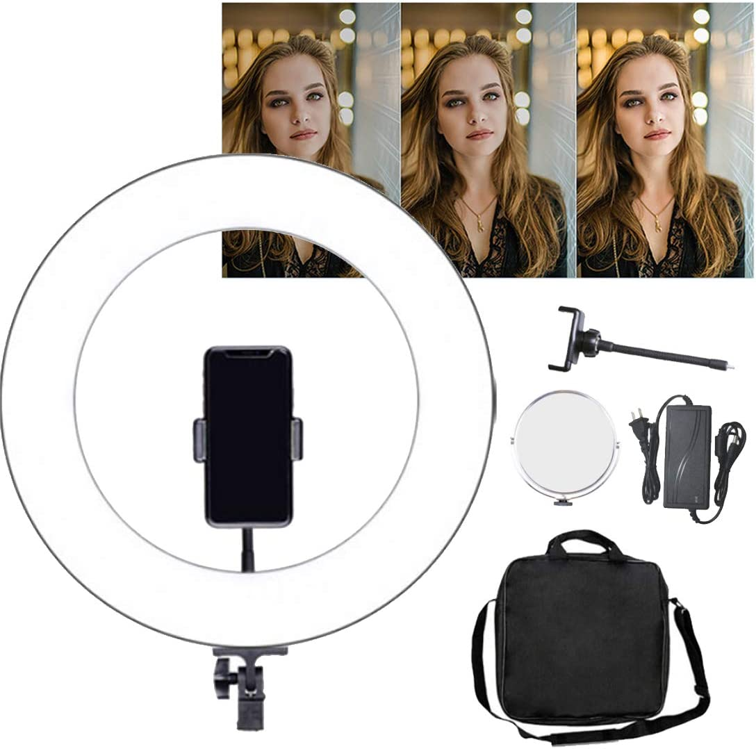 DLMPT LED Ring Make Up Light with Adjustable Tripod Adjustable Color Temperature and Brightness Ringlight Make Up Light Dimmable for Live Stream Makeup YouTube Video,A,Withremotecontrol