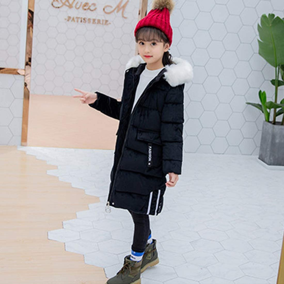 Little//Big Kids YANGXING Girls Long Down Coat Kids Outwear Winter Warm Hoodie Down Jacket Coat