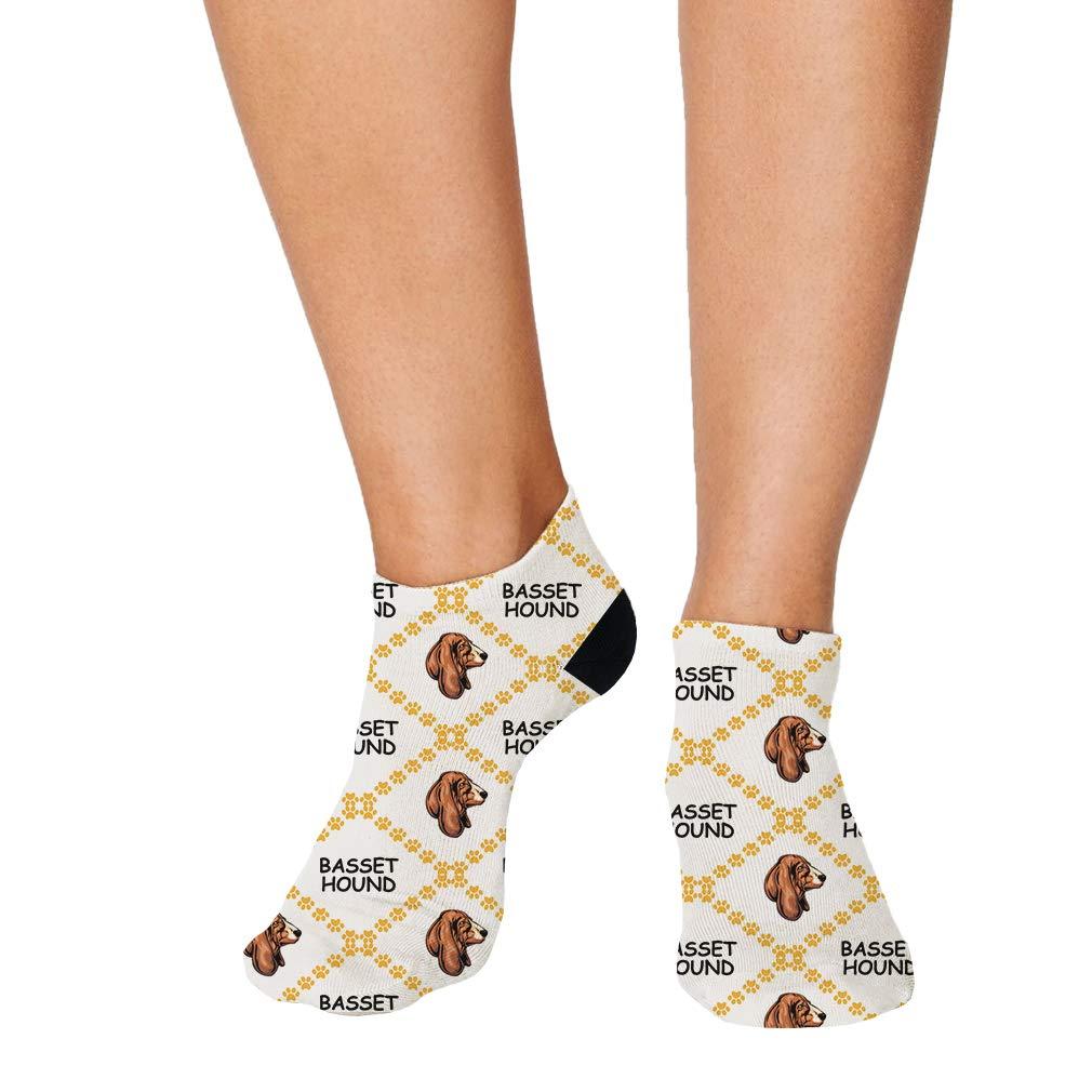 Basset Hound Dog Paws Pattern Men-Women Adult Ankle Socks Crazy Novelty Socks