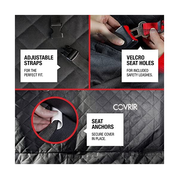 COVRIR Ultra Tech Waterproof Pet Car Seat Cover HammockSling BenchBackTrunkCargo Liner Mode Avoids Dog Cat Hair In Trucks SUVS BONUS Seat Belt Restraint Water Bottle