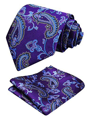 Mens Tie Purple Floral with Alizeal Hanky Necktie Set Paisley Dark davqZzIw