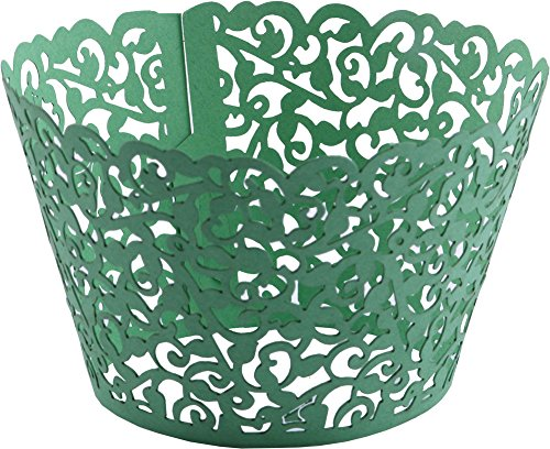 Lace Cupcake Wrappers,DriewWedding 100pcs Artistic Bake Cake Paper Filigree Little Vine Lace Laser Cut Liner Bake Cake Paper Cups Baking Cake Cup Wraps Muffin CaseTrays- Green -