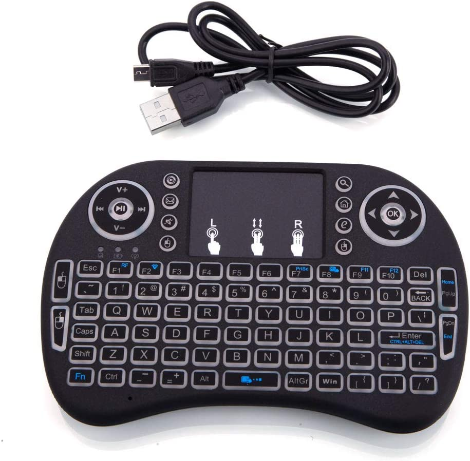 Mini i8 2.4GHz Warm White Backlight Wireless Keyboard with Touchpad Black