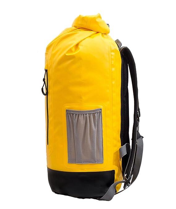 f81e3d4a3a 28L Borsa Impermeabile Lembo Arrotolabile in Cima Sacca Zaino Con Bretelle  - Per Spiaggia Pesca Campeggio Uscite in Barca e Kayak (Giallo): Amazon.it:  Sport ...