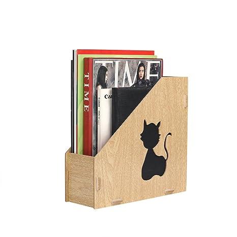 Archivador de madera para revistas HomJoy, tamaño A4, organizador de escritorio para oficina en
