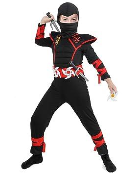 Tacobear Disfraz de Power Ninja para Niño Disfraz Infantil de Halloween Negro y Rojo 4-13 años (L (8-10))