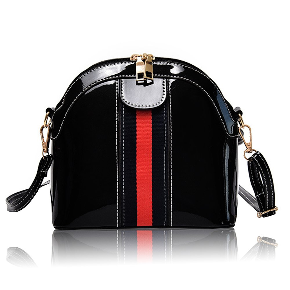 Beatfull Small Designer Handbag for Women, Fashion Shoulder Bag Stripe Shell Bag Crossbody Purse (black)