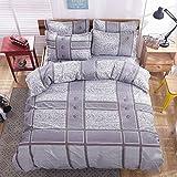 Libaoge Libaoge 4 Piece Bed Sheets Set, Light Purple Plaid Stripe Patchwork Pattern, 1 Flat Sheet 1 Duvet Cover and 2 Pillow Cases
