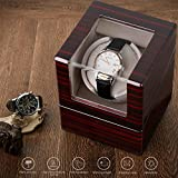 INTEY Single Watch Winder with Quiet Motor and Flexible Plush Pillow, Battery Powered or AC Adapter, 4 Rotation Modes