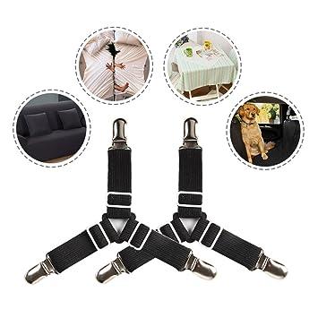 Comficent Sábana ajustable Clip sujetado debajo del colchón hoja de cama Cross correas tirantes Funda sujetador Bandas Clip: Amazon.es: Hogar
