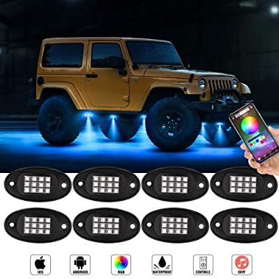 LncBoc RGB LED Rock Lights Kit 8 Pods with Bluetooth Control Phone App/Remote Timing Flashing Music Mode Multicolor Neon LED Light IP67 Waterproof for Trucks UTV ATV SUV Off Road Jeep: Automotive