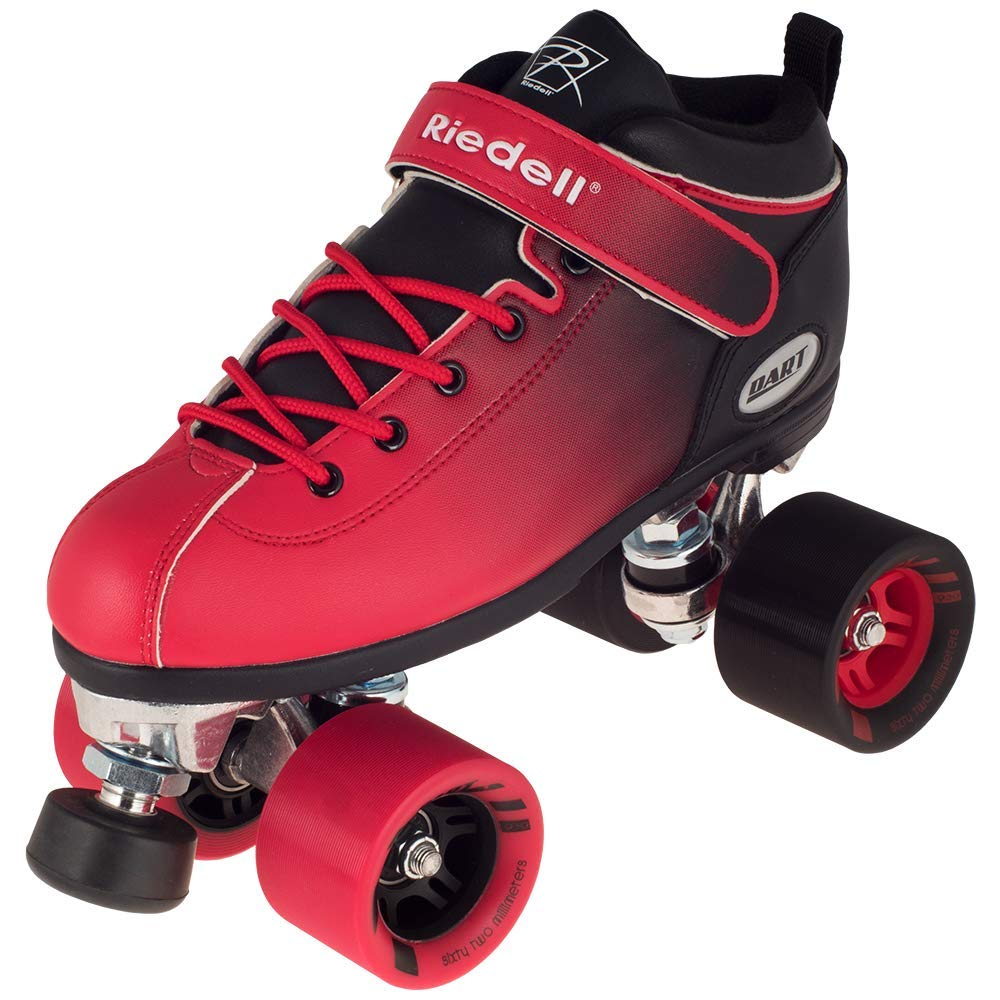 Riedell Skates – Dart Ombr – Quad Roller Speed Skate Black Red Size 9