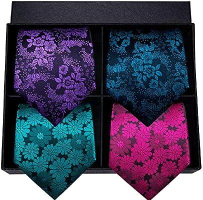 HYCZJH Conjunto de Corbata de Seda para Hombre Corbatas y pañuelos ...