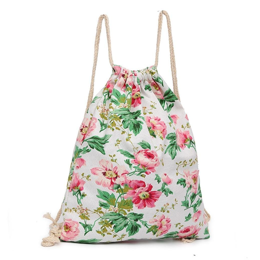 Sameno flower Canvas Outdoor outing Beach Travel Outdoor Backpack Pouch Bag (Pink)