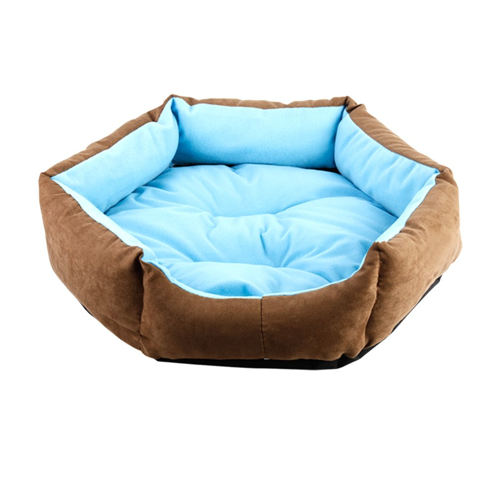 WuKong Hexagonal Pet Bed Cat Nest for Small Dog Pet Nest Cushions Removable Washable Dog House (XS: Outside diameter: 13.6''x11.7'', Blue)