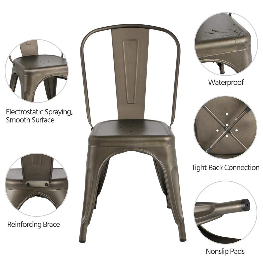 Yaheetech Iron Metal Dining Chairs Stackable Side Chairs with Back Indoor-Outdoor Classic/Chic/Industrial/Vintage Bistro Café Trattoria Kitchen Gun Metal,Set of 4 by Yaheetech (Image #4)
