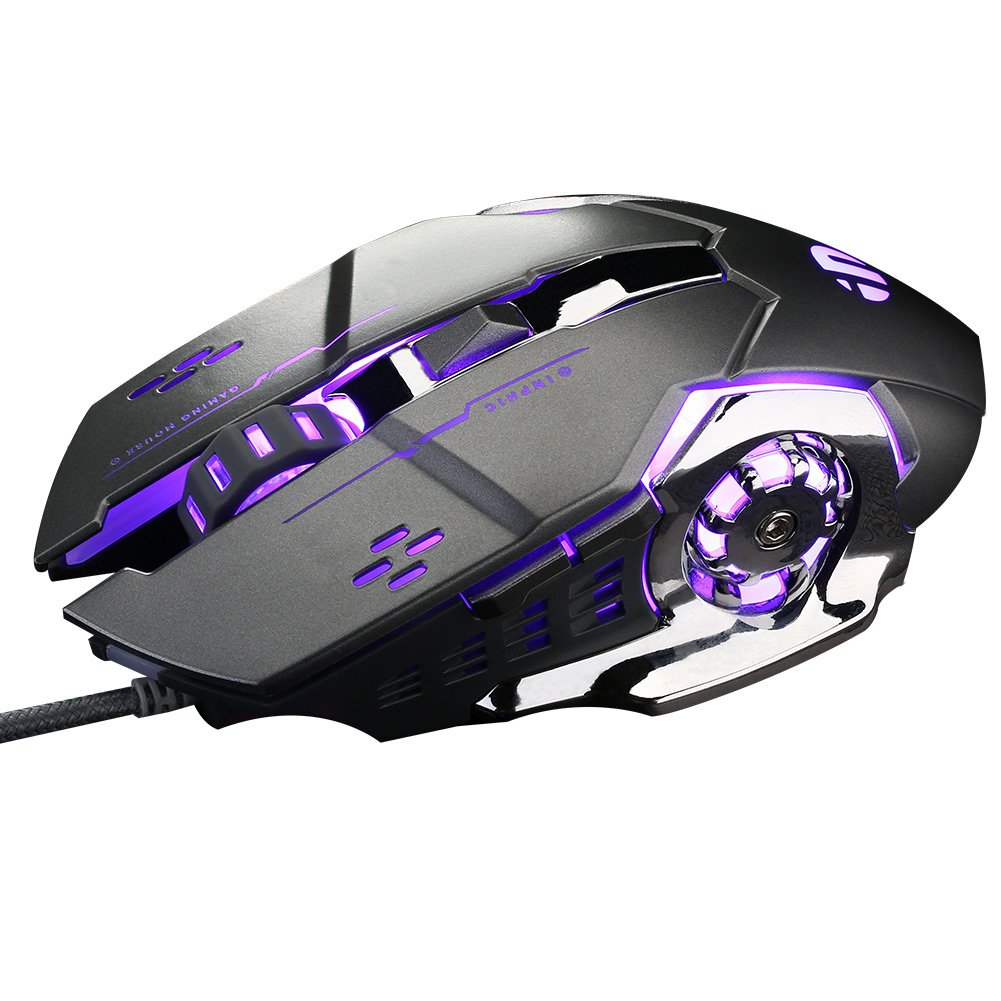 PC Gaming Mouse USB Wired 6 Programmable Buttons Game Mice for DELL,HP Computer/Laptop with Windows/XP Vista /, 5 Adjustable DPI Levels, Breathing LED Light, Silent Click