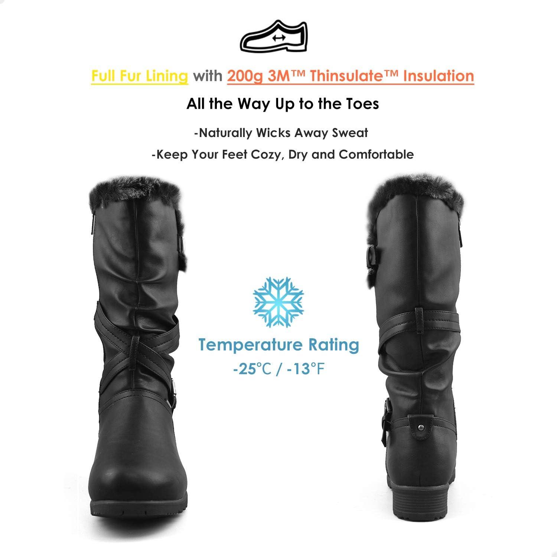 Comfy Moda Womens Waterproof Fur-Lined Insulated Winter Boots w//Ice Gripper Waterloo