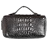 Genuine Crocodile Tail Real Leather Coin Card Wallet Zip Clutch Handle Organizer