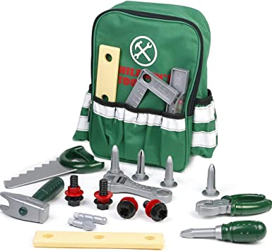 Symiu Tool Kit Set Work Bench Role Play Pretend Toy with Children Backpack Storage Bag Drill for 3 4 5 Years Old Boys Girls Children