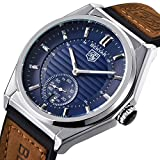 Men's, Women's Watches Luxury Brand Business Casual Silicone and Brown Leather Waterproof Date Watch (Silver blue)