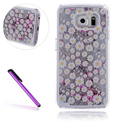 Samsung Galaxy S8 Case,LEECOCO Galaxy S8 Case 3D Luxury Shiny Diamonds Gilitter Quicksand Liquid Bling Floating Moving Stars Hard PC Protective Case for Samsung Galaxy S8 Silver Little ()