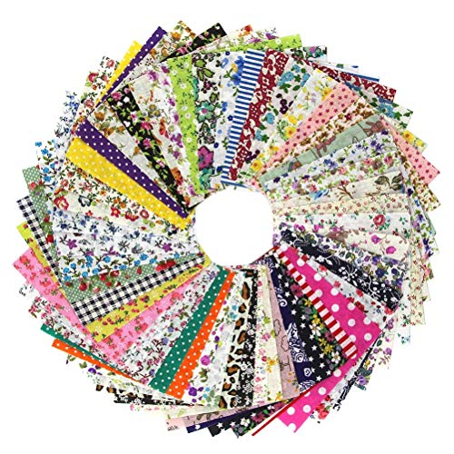 Chris.W 50 Quilting Fabric Squares Sheets, 4