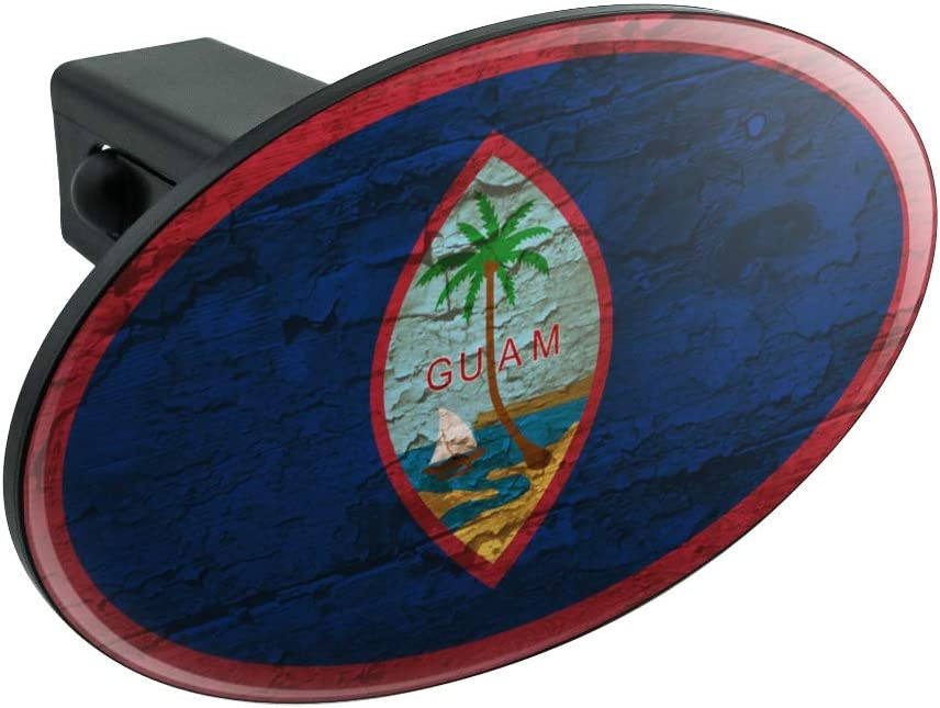 Graphics and More Rustic Distressed Guam Flag Oval Tow Trailer Hitch Cover Plug Insert