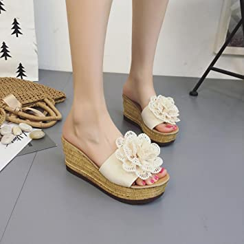 Amazon.com: NXDA Summer Floral Platform Waterproof Women Sandals Wedge Sandals Slippers Shoes (Beige, US:7): Arts, Crafts & Sewing