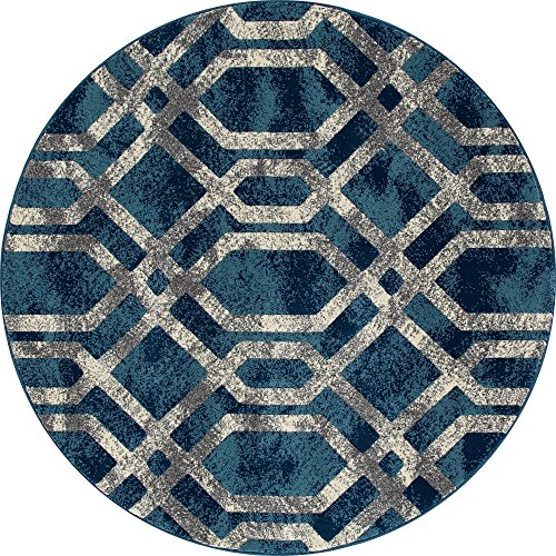 Art Carpet Bastille Collection Fretwork Border Woven Round Area Rug, 8', Blue/Gray