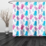 HAIXIA Shower Curtain Octopus Cute Cartoon Marine Animals with Various Colors Heart Shapes Love Themed Image Lilac Pink Blue