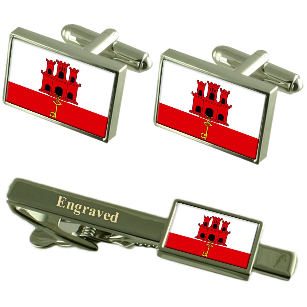 Select Gifts Gibraltar Flag Cufflinks Engraved Tie Clip Matching Box Set