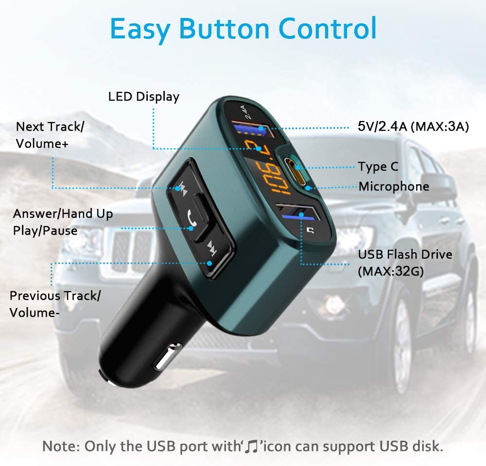 Bluetooth Adapter Wireless Radio Receiver Comsoon Bluetooth FM Transmitter for Car Green Car Kit Supports USB Flash Drive Hands-Free Calling Car Charger with 18W Type-C /& 5V//2.4A Dual Ports
