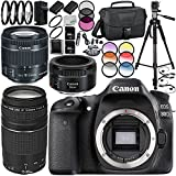 Canon EOS 80D Camera 39PC Kit - International Version (No Warranty) w/Canon EF-S 18-55mm f/4-5.6 IS STM Lens, Canon EF 75-300mm f/4-5.6 III Lens, Canon EF 50mm f/1.8 STM Lens 64GB Bundle, MORE