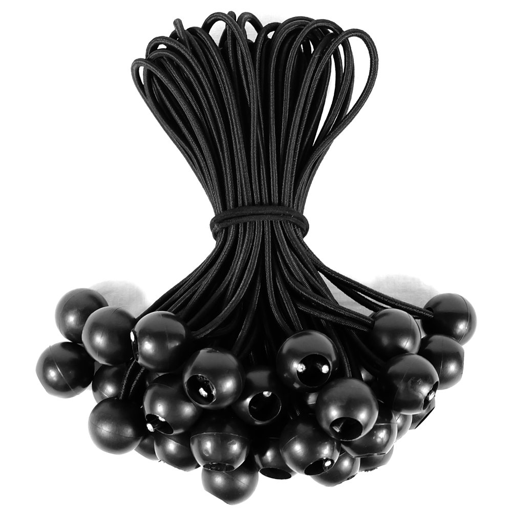 NIERBO Ball Bungee Cord, Tendeurs avec Ballon 22 piè ces Bungee Ball, 8.8inch (22.5cm, Balle Incluse), Noir (22 piè ces), pour Affiches, bâ ches, Pavillons, tentes, é cran de Projection Tendeurs avec Ballon 22 pièces Bungee Ball