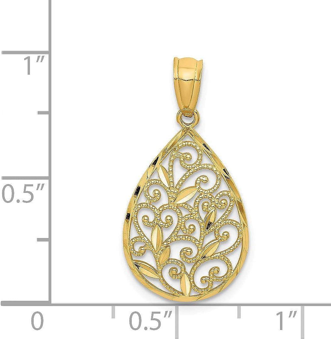 13mm Black Bow Jewelry 14k Yellow or White Gold Small Filigree Teardrop Pendant
