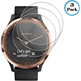 Screen Protector Compatible with Garmin Vivomove HR, 3 Pack Tempered Glass 2.5D 9H Hardness Anti Scratch Full Coverage Bubble-Free Watch Protective Film