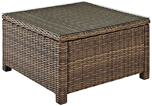 Crosley Furniture Bradenton Outdoor Wicker Sectional Coffee Table with Glass Top - Weathered Brown - High Quality Rattan Styled Round Wicker UV Resistant Outdoor Resin Wicker Durable Steel Frame - patio-tables, patio-furniture, patio - 617WjAOjPdL -