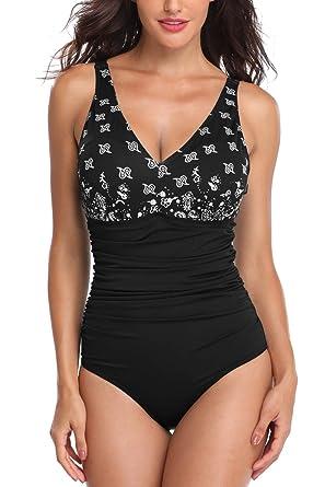 bc8f5d12ffc PERONA Women's Tummy Control Swimsuit One Piece Tankini Bathing Suit  Vintage Printed Swimwear,Black,