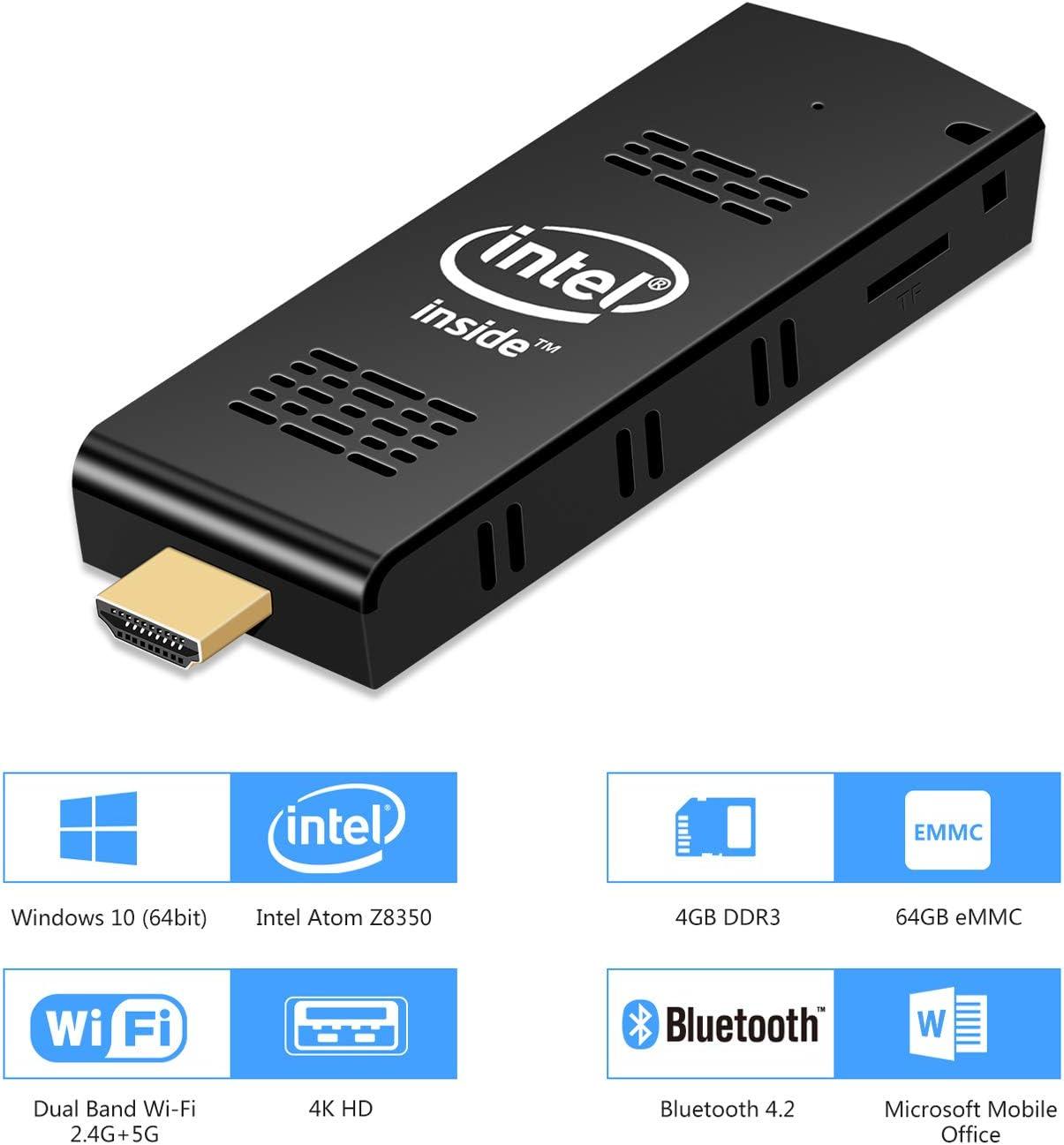 Mini PC, EstgoSZ Mini Computer Stick Windows 10(64-bit) Intel Cherry Trail Atom Z8350 Processor(Max 1.9GHz) 4GB 64GB Support 2.4/5G WiFi BT 4.2 4K Desktop Computer with HDMI/USB3.0 Port