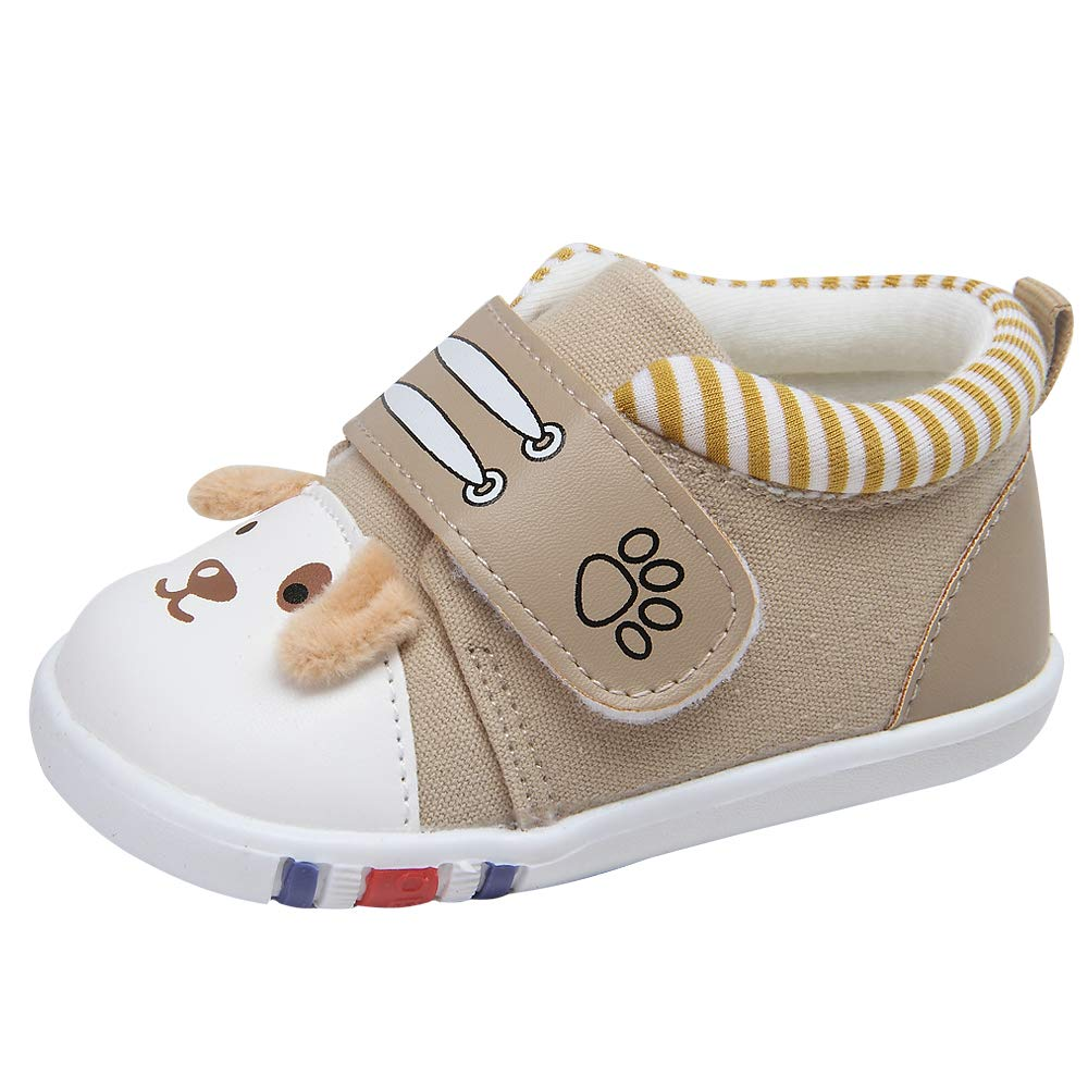 Kuner Cartoon Baby Casual Breathable Shoes for Baby Girls Boys Outdoor Sneakers First Walkers 9-24 Months(15(Inside length-12.1cm)(12-15months),Khaki)