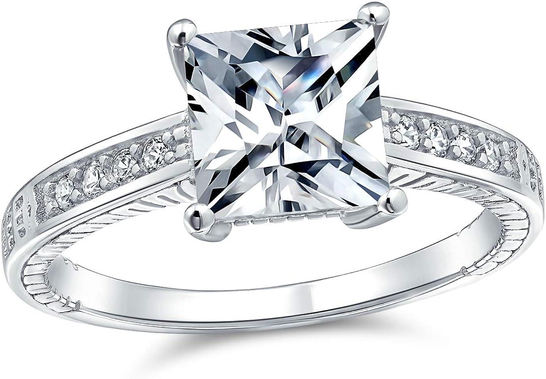 Bling Jewelry 3CT Princess Coupe Carr/ée Solitaire Saphir Bleu Simul/ées CZ Bague De Fian/çailles pour Homme Rose
