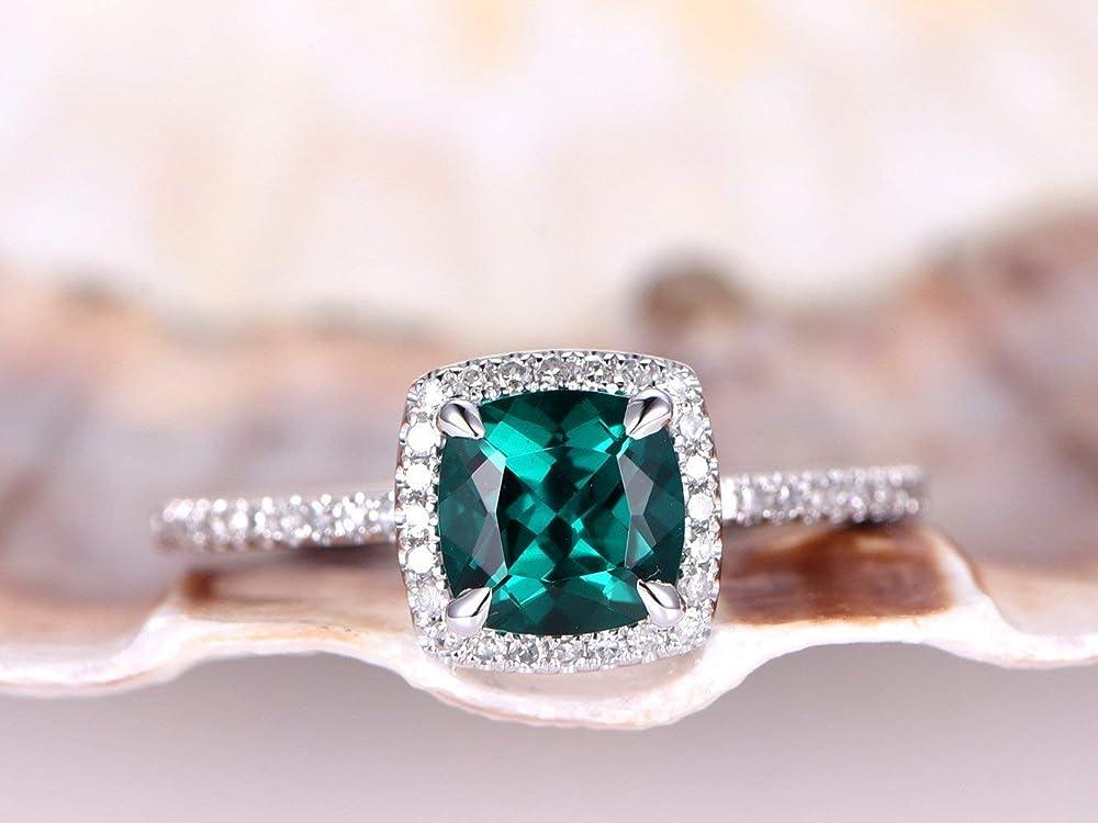 Cushion Emerald 10X8mm Semi Mount Ring Solid 10k White Gold Fine Jewelry Wedding