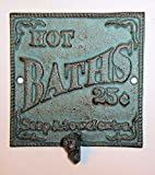 ''ABC Products'' - Heavy Cast Iron Bath Sign - With Large Hook - 5-1/2 Inch Square - The Words''Hot Baths 25 Cents Soap and Towel Extra'' - (Rustic Bronze - With Primitive Green Overlay - Wall Mount)