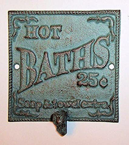 """ABC Products"" - Heavy Cast Iron Bath Sign - With Large Hook -"